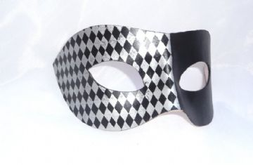 Genuine Handmade Unique Italian  Embellished Black & Silver Half Harlequin Leather Mask
